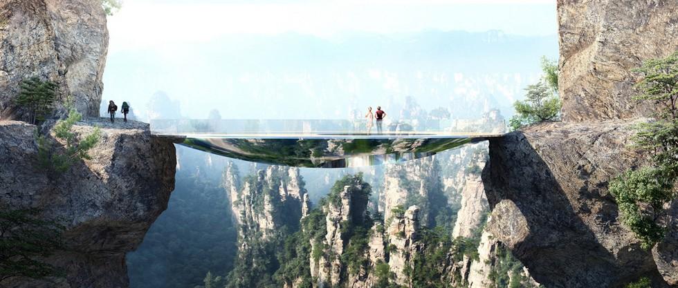 Projekt zespołu szklanych kładek i pawilonów w Chinach